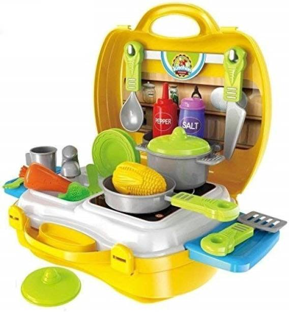 BVM GROUP Kitchen Set Pretend Play Toys for Girls with Suitcase Carry Case, Yellow Color -(26 Pieces)
