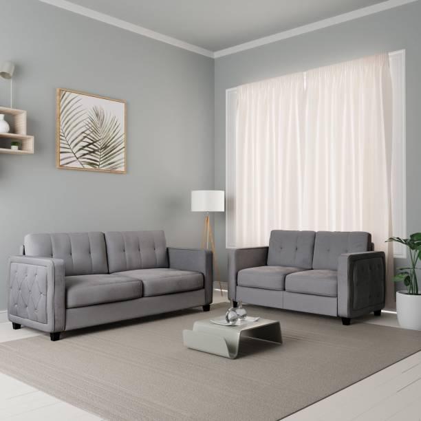 Flipkart Perfect Homes Ripley Fabric 3 + 2 Grey Sofa Set
