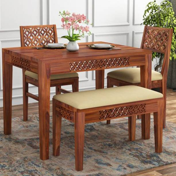Mooncraft Furniture CNC Cutting 2 chair 1 Bench Solid Wood 4 Seater Dining Set