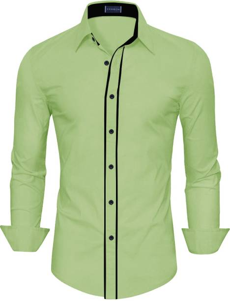 3SIX5 Men Solid Casual Light Green Shirt
