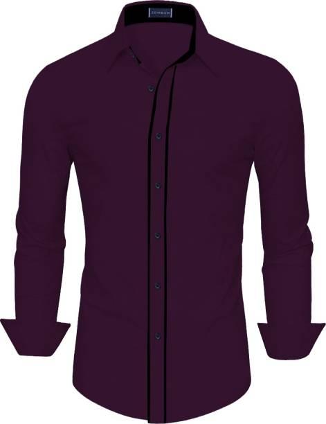 3SIX5 Men Solid Casual Purple Shirt