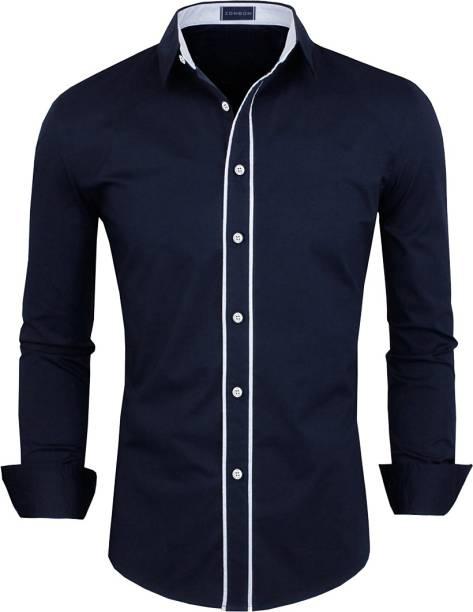 3SIX5 Men Solid Casual Dark Blue Shirt