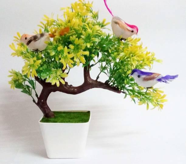 Aj style Green Bougainvillea Artificial Flower  with Pot