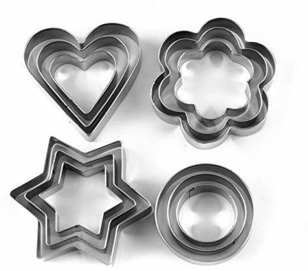 LandVK 12 Pieces Cookie Cutter Set | 4 Different Shapes, 3 Sizes, Stainless Steel (Pack of - 12) Cookie Cutter