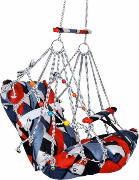 Dxplore Foldable Washable Comfortable Cotton Swing Jhula For Kids with Safety Belt Swings