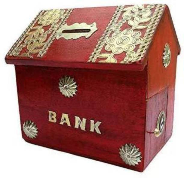 woodartemporium Wooden Coins Storage Box, Money Bank With Brass Work And Lock. Piggy Bank For Kids, Gift For Christmas Or Birthday Coin Bank (Red) Coin Bank