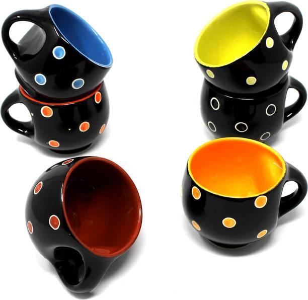 KIKI CREATION Pack of 6 Ceramic, Bone China Black Pari Dot Printed Microwave Safe Tea Cup/Coffee Cup Set