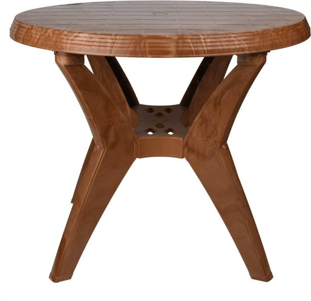 National Party Round Roma Plastic Dining Table,Teakwood Plastic 4 Seater Dining Table