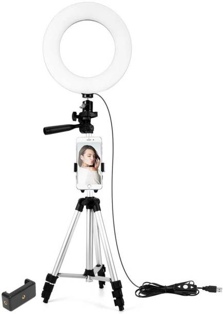 YODNSO Portable & Adjustable Design 10 inch Big Selfie with tripod,ring Light for Makeup, You Tube Videos, Photography Compatible for Mobile & Small Cameras with 2.1metre stand Flash
