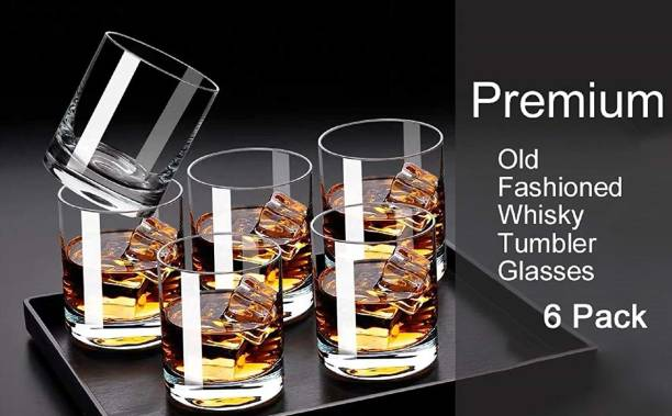 UNIQUEWARE (Pack of 6) Premium Quality Crystal Clear Weighted Bottom Old Fashioned Glasses for Whiskey, Wine, Scotch, Cocktails, Juice, and Water 300ML Glass Set Pack of (6 pcs.) Glass Set