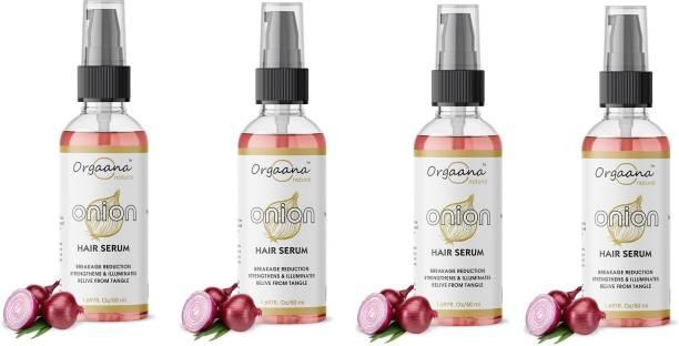 orgaana Natural Smooth Intense Instant Smoothing Serum, Onion Hair Serum-Pack Of-(4) -(50 ml)