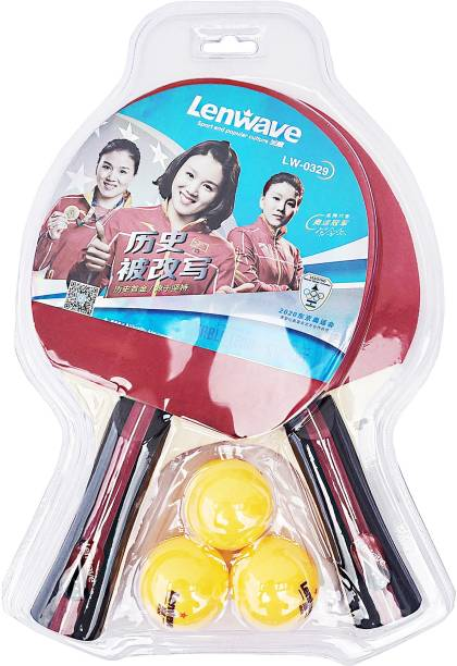 LenWave LW-0329: Table Tennis Racquet Set of 2 and 3 Balls Table Tennis Kit