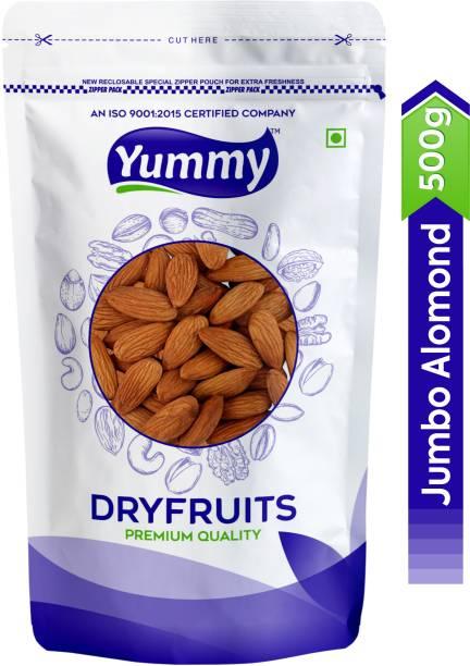 Yummy 100% Natural Premium Quality Raw Jumbo Almonds/Badam Dryfruits (500 g) Almonds Almonds