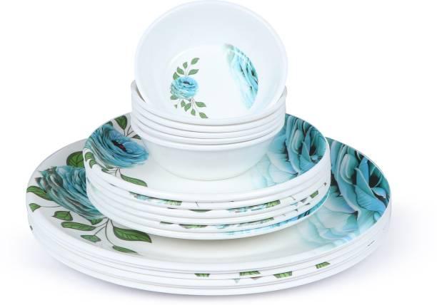 Golden Fish Kintchen-King Melamine Round Full Dinner plates, Quarter Plates & Veg. Bowl || Mini Dinning Set (Pack of 18, Floral Print) (KC-F-QPB-1-18) Dinner Plate