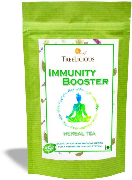 Treelicious Immunity Booster Herbal Tea | Tulsi, Mulethi, Ginger,Dalchini & Other Herbs| Great for Adults & Children | Good in Summer & Winter| Assorted Herbal Tea Pouch