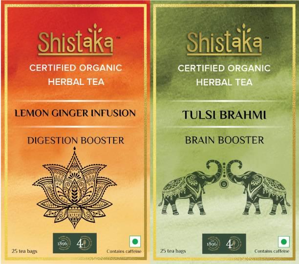 SHISTAKA Lemon Ginger Infusion, Tulsi Brahmi Tulsi, Ginger, Lemon, Brahmi Green Tea Bags Box