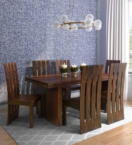 Krafting kustoms Solid Wood 6 Seater Dining Set