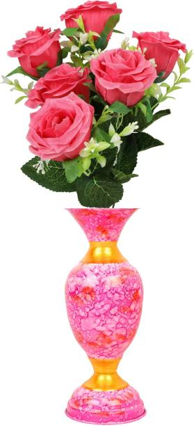 BS AMOR Pink, Green Rose Artificial Flower  with Pot