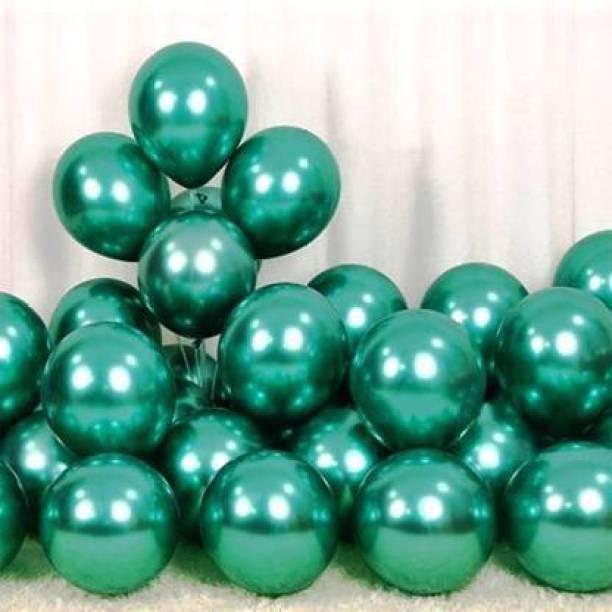 BBS DEAL Solid Solid Metallic Green Balloon -25 Balloon (Green, Pack of 25) Balloon