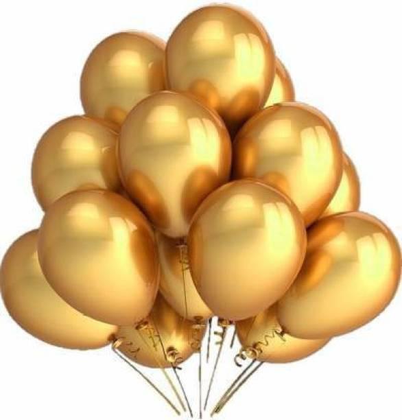 BBS DEAL Solid Solid Metallic Gold Balloon -20 Balloon (Gold, Pack of 20) Balloon