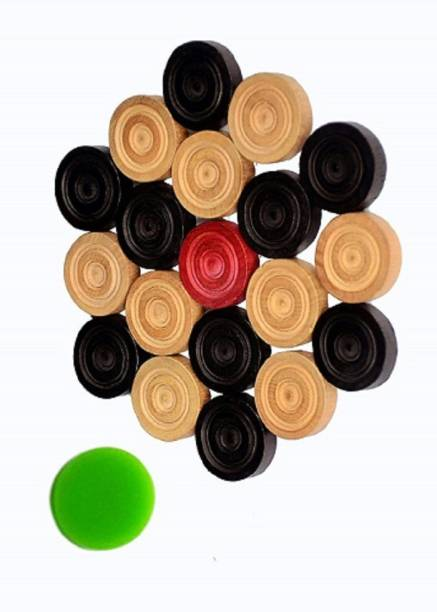 Supreme Quality Shopee Wooden Carrom Coins All Types of Carrom Board ( Set of 24 ) with one Striker Carrom Pawns