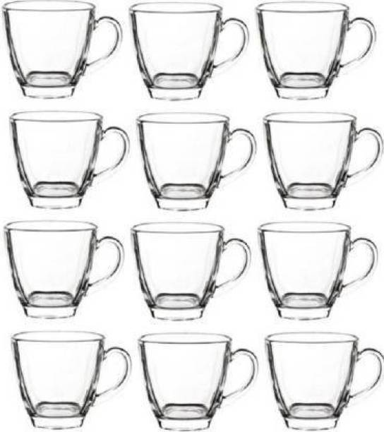 mahakal Pack of 12 Glass Glass Transparent Glass Tea & Coffee Cups Mug SQUARE Crystal Mugs
