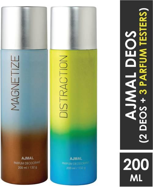 AJMAL Magnetize & Distraction Deodorant Combo pack of 2 High Quality Deodorants 200 ml each (Total 400ML) for Men & Women + 2 Parfum Testers Deodorant Spray  -  For Men & Women