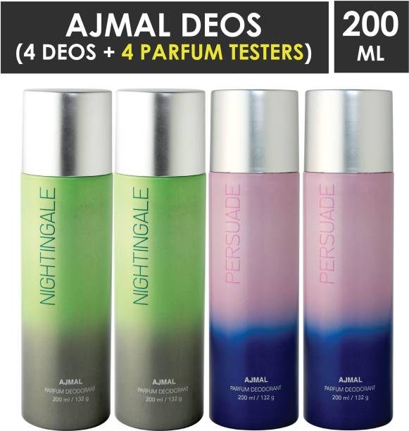 AJMAL 2 Nightingale & 2 Persuade Deodorant Combo pack of 4 High Quality Deodorant 200ml each (Total 800ML) for Men & Women + 4 Parfum Testers Deodorant Spray  -  For Men & Women