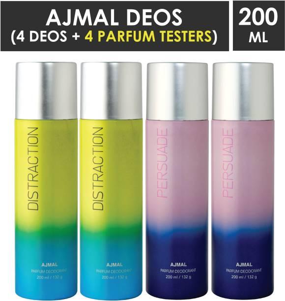 AJMAL 2 Distraction Deodorant Spray - For Men & Women (800 ml, Pack of 4) +4 Tester Deodorant Spray  -  For Men & Women