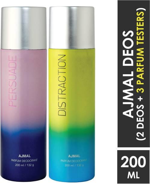 AJMAL Persuade & Distraction Deodorant Combo pack of 2 High Quality Deodorants 200 ml each (Total 400ML) for Men & Women + 2 Parfum Testers Deodorant Spray  -  For Men & Women
