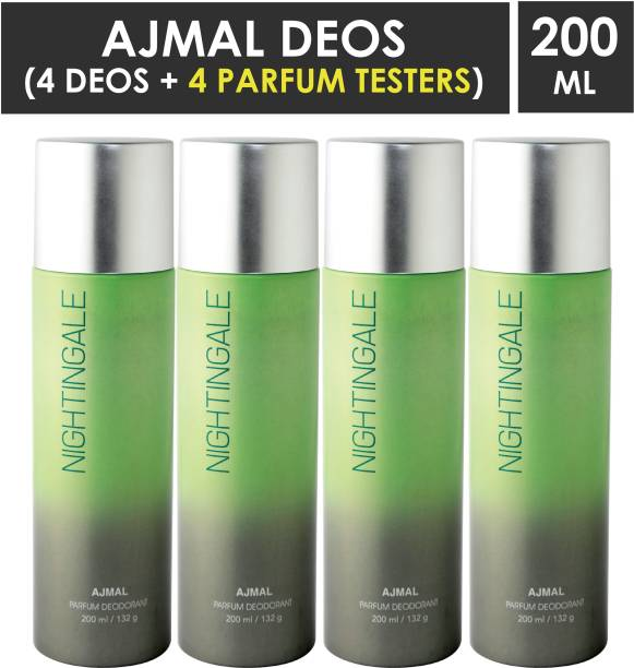 AJMAL 4 Nightingale Deodorant Spray - For Men & Women (800 ml, Pack of 4) + 4 Tester Deodorant Spray  -  For Men & Women