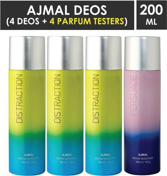 AJMAL 3 Distraction & 1 Persuade Deodorant Combo pack of 4 High Quality Deodorant 200ml each (Total 800ML) for Men & Women + 4 Parfum Testers Deodorant Spray  -  For Men & Women