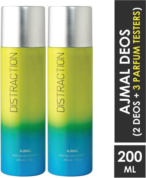 AJMAL 2 Distraction Deodorant Spray - For Men & Women (400 ml, Pack of 2) +3 testers Deodorant Spray  -  For Men & Women