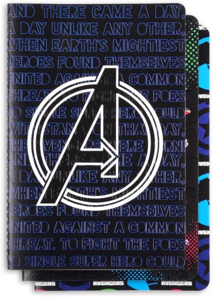 doodle Avengers Set of 3 Notebook - Black B6 Notebook Ruled 64 Pages