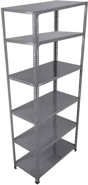 Spacious CRC Sheet 6 Shelf Slotted Angle Rack, 15x36x58 Inch, 20 Gauge sheet, 14 Gauge Angle Luggage Rack Luggage Rack