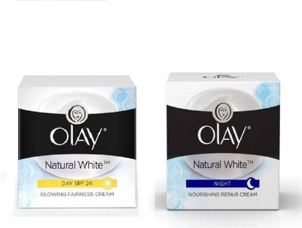 OLAY natural white fairness cream spf24 50g + natural night cream 50g