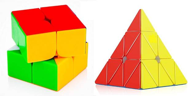Authfort Cube Combo of 2x2 and Pyraminx Pyramid Triangle High Speed Stickerless Magic Puzzle Cube
