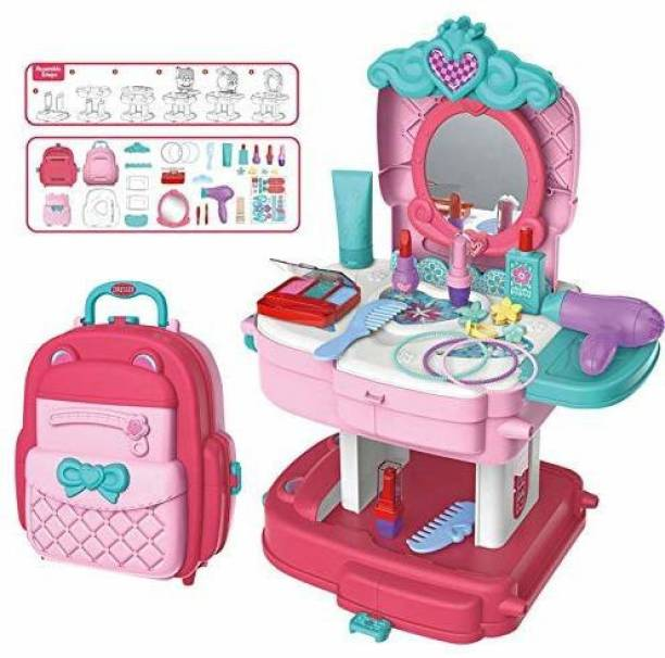 him tex 21 Pieces Cute Design School Bag Beauty Makeup & Hair Dressing Kit for Kids, Pretend Play Beauty Kids Cute Dresser for Play Set for Kids Girls for 3 Year Old