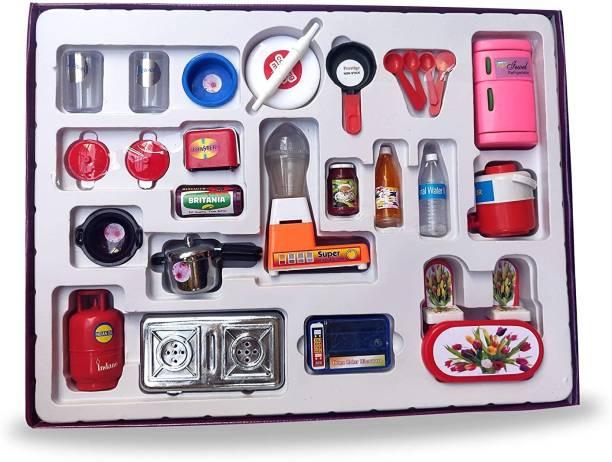 BVM GROUP Nano Kitchen 22 Pcs Mini Plastic Non Toxic Indian Kitchen Set Great Kitchen Toys for Girls (Kid's Love Kitchen Set) Indoor Game ,Best for Gift/Return Gift