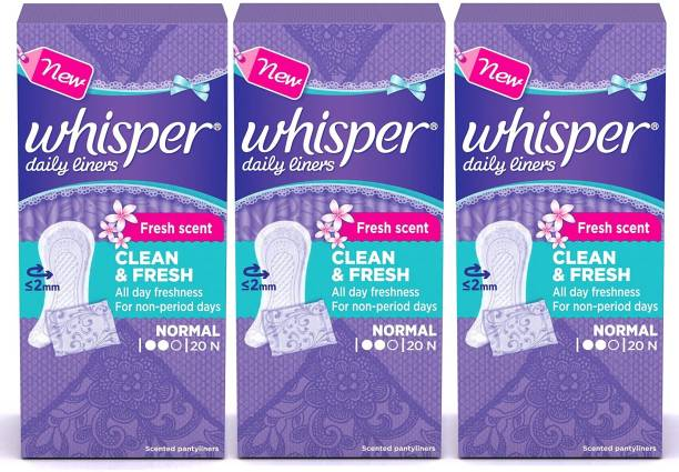 Whisper Clean and Fresh Daily Liners 20+20+20 Count Sanitary pads for women Pantyliner