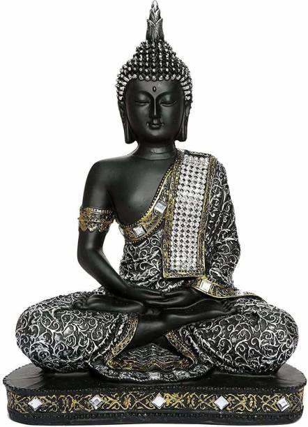 shri ganesham industries Handcrafted buddha statue for home decor Decorative Showpiece - 22 cm (Polyresin, Silver) Decorative Showpiece  -  24 cm