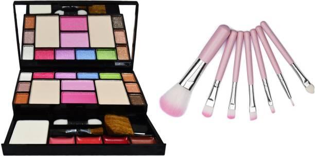 Miss Hot 6171 Makeup kit+7 Piece Brush Set for Women (Pink)