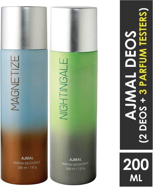 AJMAL Magnetize & Nightingale Deodorant Combo pack of 2 High Quality Deodorants 200 ml each (Total 400ML) for Men & Women + 2 Parfum Testers Deodorant Spray  -  For Men & Women