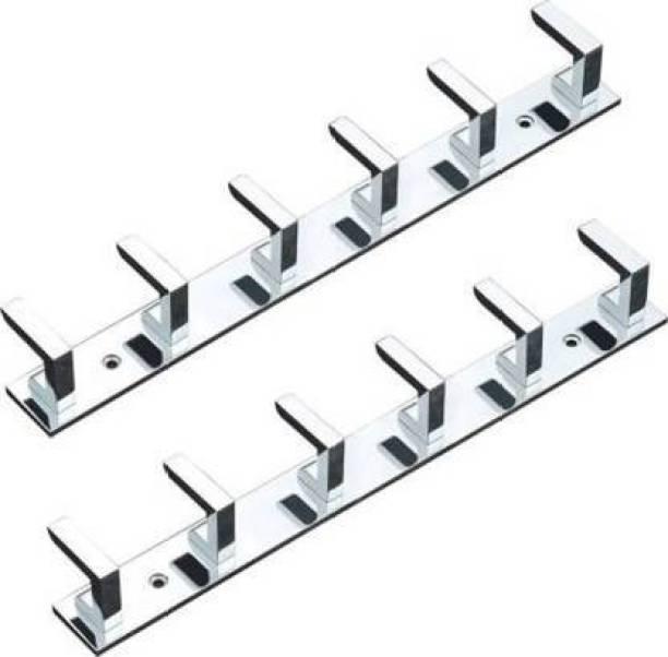COSSIMO -CSM-02 High Grade Stainless Steel 6 Pin Cloth Hanger Bathroom, Kitchen, Wall Wardrobe Door, Hooks For Hanging keys, Clothes Holder Hook Rail - Set of 2 Pcs Door Hanger