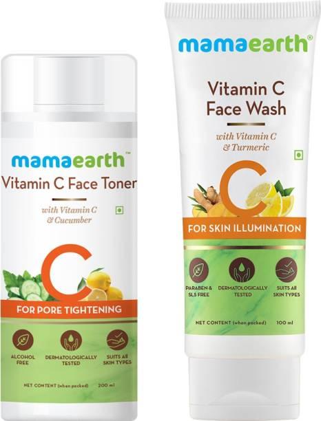 MamaEarth Vitamin C Glowing Skin Combo Face Wash