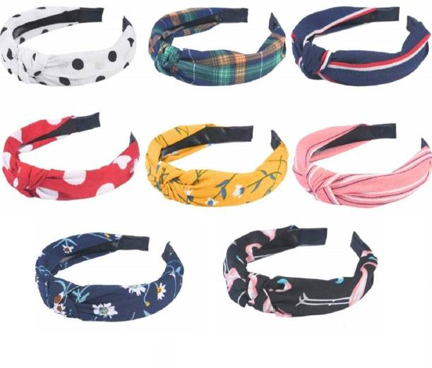 Glaaddo Style Solid Fabric Knot with Piping Plastic Hairband Headband 8 Pc multi-color For Girls and Woman Hair Band