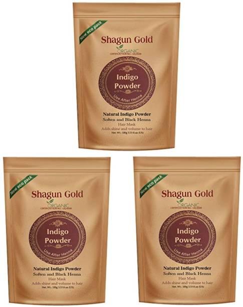 SHAGUN GOLD Powder Black Hair Coloring for women & men 100gm (pack of 3) Chemical free