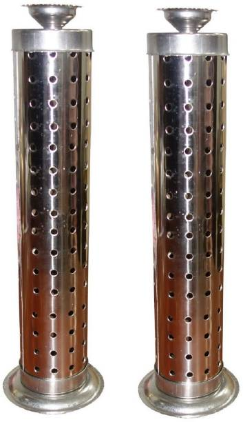 RSPOL PK OF 2 STAINLESS STEEL AGERBATTI STAND WITH DHOOP/ DEEP DANI Steel Incense Holder Set