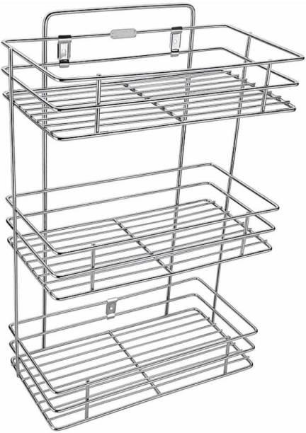 HUMBLE KART 3 Layer Wall mount Stainless Steel Multipurpose Storage Rack/Shelf, Kitchen Rack Steel Kitchen Rack [Pack of 1 Silver] Containers Kitchen Rack (Steel) Fruits/Vegetables Kitchen Rack