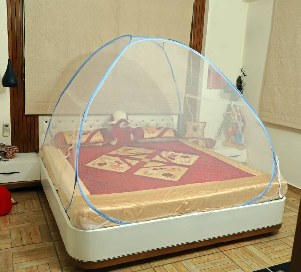 fegore Polyester Adults Foldable, Premium King Size Double Bed Mosquito Net, Polyester Yarn 35 GSM, Noise Less Steel Wire(6.5 Ft x 6.5 Ft, Color :- White) Mosquito Net